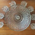 Vtg Lg Crystal Glass Punch Bowl Set  8 cups Salad or Fruit Bowl Star Pattern
