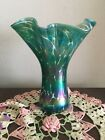 1984 Glass Eye Studio Iridescent Teal Pulled Bubble Glass 8 Vase Mt St Helens