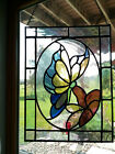 8 X 11 in Rectangular Butterfly and Flower Stained Art Glass Sun Catcher