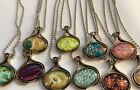 LOT OF 89 WHOLESALE GLASS PEWTER NECKLACES WITH CHAINS