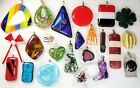 Vintage Hand Blown Foiled Dichroic Art all Glass Pendant Brooch Jewelry Lot