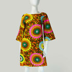 Vintage 60s Mod FLoWeR PoWeR Mini Dress PSYCHEDELIC Bell Sleeves S 4 6 P127
