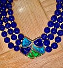 Vintage Murano Glass Multi Strand Cobalt Blue Beaded Necklace Rare