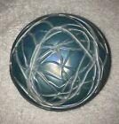 Vintage Levay Art Glass Peacock Blue Pearl White Iridescent Threaded Paperweight