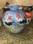 Murano Style Glass Halloween Vase With Bats And Blue Sky