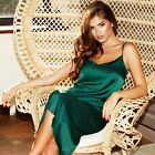 Womens Silk Satin Midi Slip Dress Evening Dress