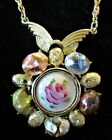Vintage Guilloche  Foiled Art Glass Beads Necklace