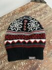 Mukluks knit beanie hat white with gray, black, red FREE SHIPPING