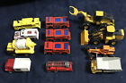 Mixed Lot Of 12 Metal Diecast Rescue Vehicles And Heavy Equipment Trucks