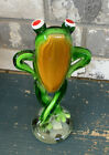 Handblown Art Glass Frog Whimsical Arms On Hips Legs Crossed Red Eyes 9 Tall