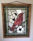 Large RED CARDINAL Suncatcher Stained Glass Handmade Lovely 21 x 17