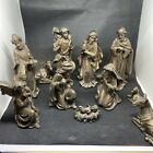 11 PIECE POLY RESIN 8 NATIVITY SET MADE IN EGYPT BRONZE RESIN