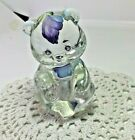 Fenton clear glass hand painted and signed Teddy Bear Figurine
