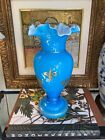 Blue Opalescent Opaline Glass Gold Gilt Ruffle Vase