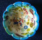 MURANO GLASS BOWL Italy gorgeous mid century turquoise teal multicolor latticino