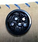 Antique Button Black Glass Lily of the Valley Med Shank