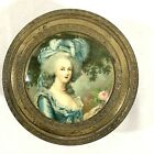 Vtg PNCW USA Metal Round Powder Trinket Dresser Box Lady Glass Insert Mirror