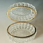 Vintage large Baccarat style cut glass oval lidded casket jewellery box