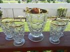 THUMB PRINT INDIANA GLASS PITCHER AND GLASSES 4 WITH GOLD RIMS