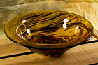 Amber  Brown Tortoise Shell Swirl Hand Blown Art Glass Bowl 12 3 4 Italy