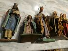 Vintage Paper Mache Hand Painted Nativity Mary  Joseph Wisemen