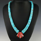 NATIVE AMERICAN SANTO DOMINGO SPINY OYSTER  TURQUOISE NECKLACE BY LUPE LOVATO