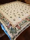 BEAUTIFUL Vtg Santa Stars Nativity German Christmas Linen Tablecloth Never Used