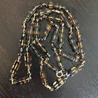 Antique Czech Glass Faux Tortoise Shell Flapper Style Necklace