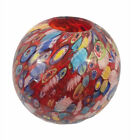 Vintage Italy MURANO Glass Tutti Frutti MILLEFIORI Art Vase Bowl Hand Blown RED