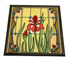 Framed Floral Stained Glass Needlepoint Vintage 165 x 155