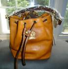 Pratesi Leather Bucket Bag Convertible Shoulder Handbag Made in Italy