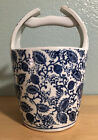 Vintage Signed Ceramic Bucket Pail Vase China Floral Blue  White Fine Porcelain