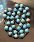 Vintage Antique Victorian Blue Turquoise Glass Beads Beaded 20 Necklace Unique