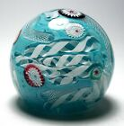 Unusual Murano Scrambled Millefiori Paperweight with Turquoise Ground