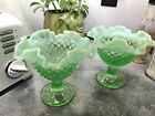 2 Vintage Fenton Green Opalescent Glass Hobnail Compote