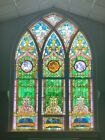 Incredible 12 Foot Tall Original 1905 Stained Glass Church Window FREE SHIPPING