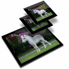 Glass Placemat  2x Coaster Tiny Pony Horse Foal Horses 3914