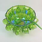 Vintage Indiana Iridescent Lime Carnival Glass Princess Punch Bowl Set 26pc