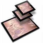 Glass Placemat  2x Coaster Rose Gold Marble Pattern Pretty 24125