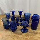 Mixed Lot Coblat Blue Hand Blown Glass Pontil Marks Bottom Mexico Candle Sticks