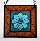 Stained Glass Hand Painted Kiln Fired Blue Flower  1400 08