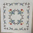 Vintage German Handmade Embroidered Linen Cotton Tablecloth