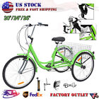 Tricycle 202426 3 Wheel 7Speed Bicycle Trike Cruiser w ToolsBasket Shopping