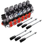 6 Spool Hydraulic Double Acting Control Valve 11 GPM SAE Ports