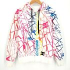 DC Rainbow Stained Glass Pattern Reversible Zip Hoodie Jacket White Womens S