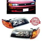 For 93 97 Toyota Corolla Headlight Black JDM Amber Corner Signal Glass Lens Set
