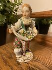 Meissen Lady Figurine With Apron & Flowers (See below for condition)