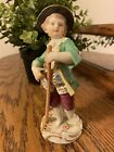 Meissen Figurine Boy With Rake (See Below For Condition)