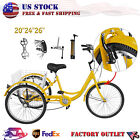 26 24 20 7 Speed Adult Trike Tricycle 3 Wheel Bike w Basket for Shopping