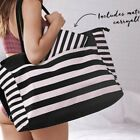 NWT HUGE Victorias Secret Tote Striped Carryall Duffle bag Purse zip XL NEW